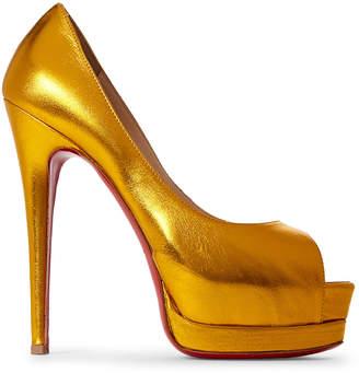 Christian Louboutin Dark Yellow Palais Royal Peep Toe Metallic Pumps