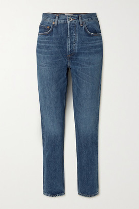 A Gold E Agolde AGOLDE - Riley Cropped High-rise Straight-leg Jeans - Blue