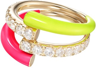 Melissa Kaye Pink And Yellow Lola Double Ring
