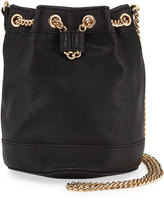 Neiman Marcus Faux-Leather Chain Bucket Bag, Black