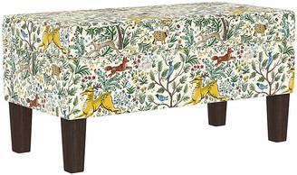 One Kings Lane Breene Kids' Storage Bench - Citrus Linen - frame, espresso; upholstery, citrus/multi