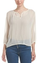 True Religion Lace-up Peasant Silk Top.