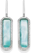 Monica Vinader Naida Diamond & Larimar Rectangle Drop Earrings