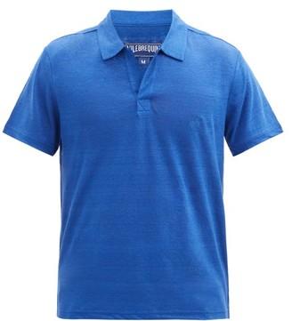 Vilebrequin Pyramid Open-collar Linen-jersey Polo Shirt - Blue