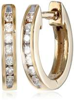 10k Gold Channel-Set Diamond Hoop Earrings (1/6 cttw, H-I Color, I2-I3 Clarity)