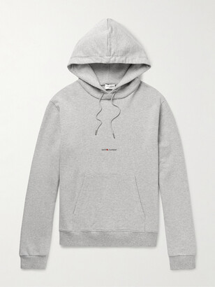 Saint Laurent Logo-Print Melange Cotton-Blend Jersey Hoodie