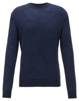 HUGO BOSS Giraffe Pattern Sweater In A Cotton Blend - Dark Blue