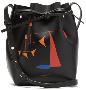 Mansur Gavriel X Calder Mini Printed Leather Bucket Bag - Black Multi