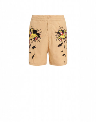 Moschino Monster Hands Canvas Cotton Shorts