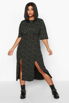 boohoo Plus Flutter Sleeve Floral Midi Dress