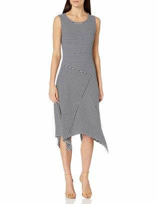 Ronni Nicole Women's Alternative Hem Stripe Ribbed Knit