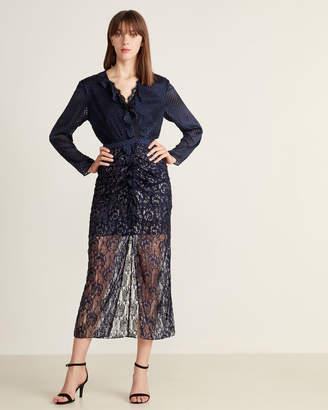 Saloni Velvet Yana Brocade Blouson Dress