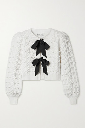 Alice + Olivia Alice Olivia - Kitty Grosgrain-trimmed Cable-knit Cardigan - White