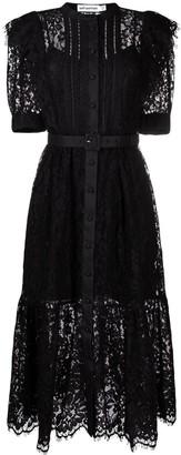 Self-Portrait Short-Sleeve Floral-Lace Midi Dress