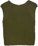 ADAM by Adam Lippes Cropped textured cotton, cashmere and silk-blend top