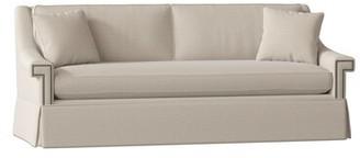 "Gabby Jacyln 84"" Square Arm Sofa Body Fabric: Zulu Vanilla, Nailhead Detail: Antique Nickel, Cushion Fill: Spring Down"
