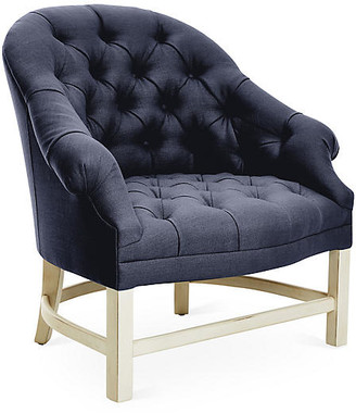 Bunny Williams Home Tufted Accent Chair - Alpine/Navy Linen