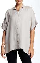 Biya Split Collar Short Sleeve Blouse
