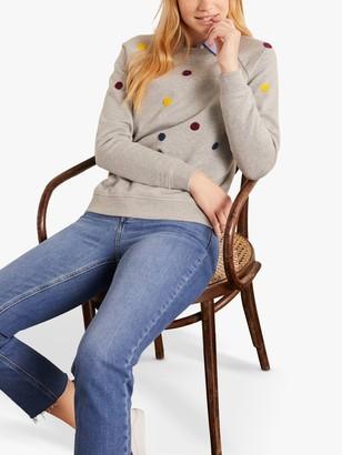 Boden Spot Embroidered Sweatshirt, Grey Marl