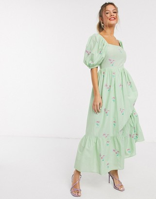 ASOS DESIGN all over embroidered cotton midi dress with lace up back in green