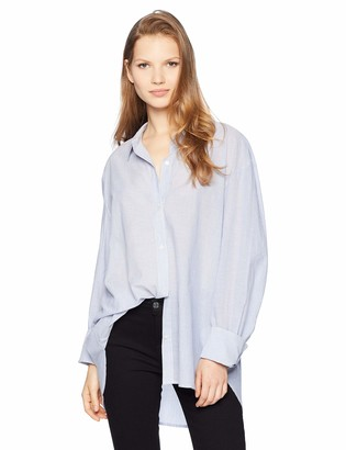 Kenneth Cole Women's Shirting Stripe Button Front Top