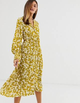 French Connection floral midi shirt dress-Yellow