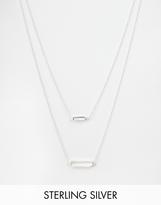 ASOS COLLECTION ASOS Sterling Silver Open 3D Rectangle Multirow Necklace