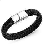 Thumbnail for your product : Sutton by Rhona Sutton Men's Stainless Steel Clasp and Black Braided Leather Bracelet