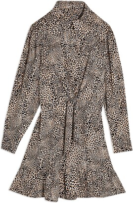 Topshop Leopard Tie Front Long Sleeve Shirtdress