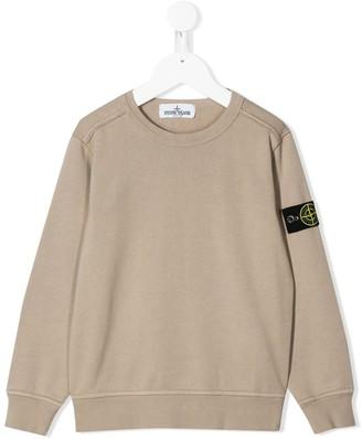 Stone Island Junior Logo Patch Cotton Sweatshirt