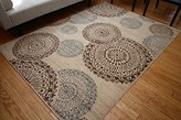 Feraghan/New City feraghan4030beige_2x4 Contemporary Modern Flowers Wool Area Rug, 2' x 3', Brown/Beige
