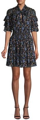 Rebecca Taylor Floral-Print Silk Cotton-Blend Mini Dress