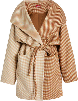 STAUD Chiba Two-Tone Houndstooth Knit Coat