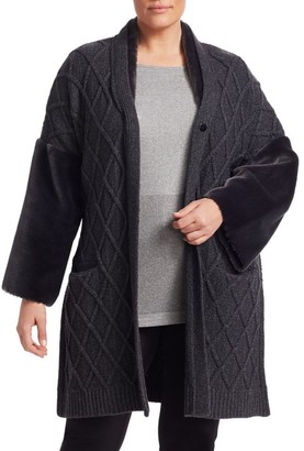 Marina Rinaldi, Plus Size Miceneo Faux Fur-Trim Cabled Cardigan