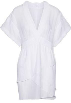 IRO Rumya Layered Metallic Pinstriped Cotton-blend Mini Dress