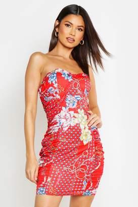 boohoo Ruched Side Chain Print Dress
