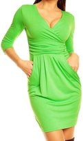 Glamour Empire. Women's Wrap V-Neck Jersey Pencil Dress with Pockets S-4XL. 236 (