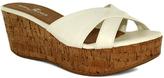 Fashion Focus White Bee Crisscross-Strap Wedge Sandal