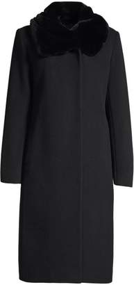 Cinzia Rocca Icon Rabbit Fur Collar Wool Coat