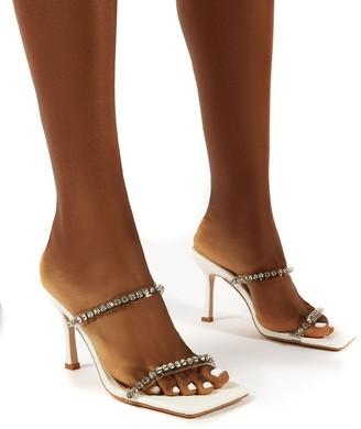 Public Desire Uk Ellie Wide Fit Double Diamante Strap Square Toe Mid Height Heel