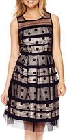 Studio 1 Sleeveless Dot Print Fit-and-Flare Dress