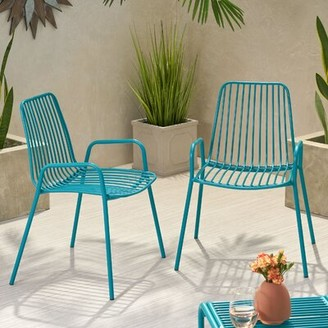 Ebern Designs Esentepe Outdoor Modern Club Patio Chair Frame Color: Matte Teal