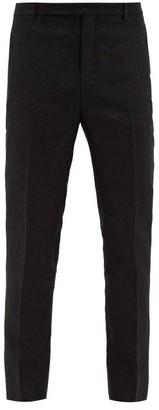 Saint Laurent Floral-jacquard Wool-blend Slim-leg Trousers - Black