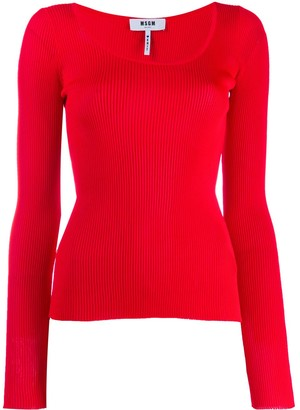 MSGM ribbed knit top