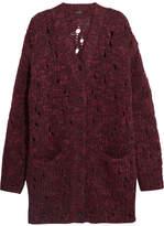 R 13 Kurt Oversized Distressed Wool-blend Cardigan - Grape