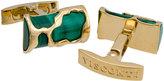 Visconti Sculptural Caged Malachite Cuff Links, Gold/Green
