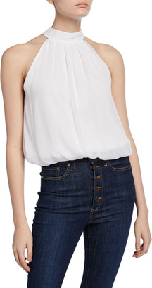 Alice + Olivia Maris Halter-Neck Gathered Top