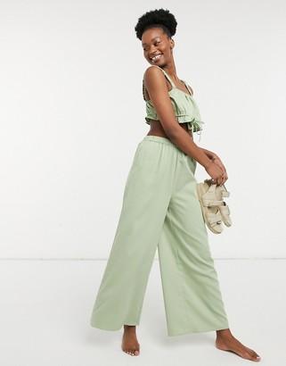 Fashion Union Exclusive high waist wide leg beach pants in grass green co
