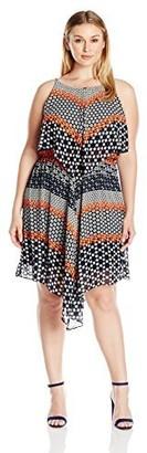 Taylor Dresses Women's Popover Chiffon Jersey Hankie Hem Dress Plus Size