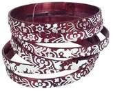 Chamak by Priya Kakkar Engraved Metal Bangle Bracelets Set of 6, Wine
